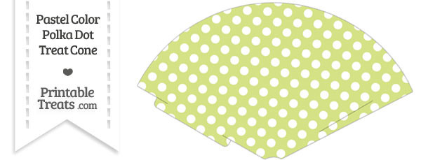 Pastel Yellow Green Polka Dot Treat Cone