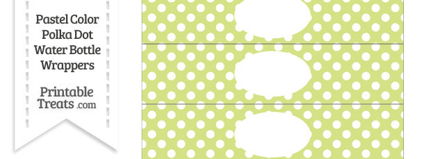 Pastel Yellow Green Polka Dot Water Bottle Wrappers
