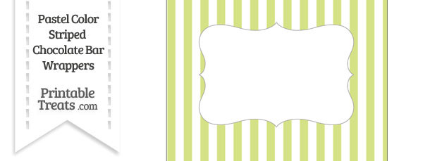 Pastel Yellow Green Striped Chocolate Bar Wrappers