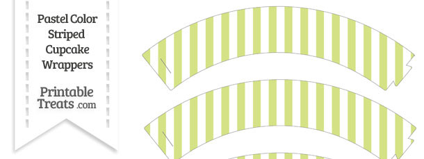 Pastel Yellow Green Striped Cupcake Wrappers