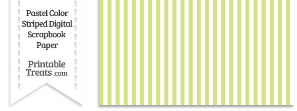 Pastel Yellow Green Striped Digital Scrapbook Paper