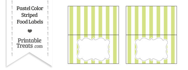 Pastel Yellow Green Striped Food Labels