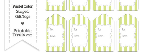Pastel Yellow Green Striped Gift Tags