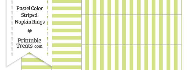 Pastel Yellow Green Striped Napkin Rings