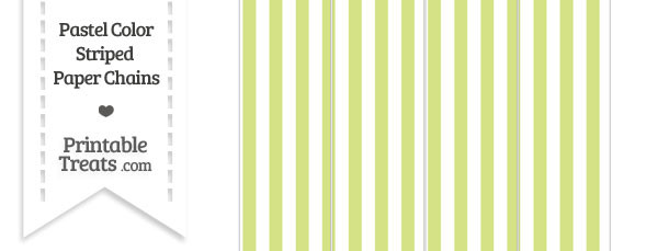 Pastel Yellow Green Striped Paper Chains