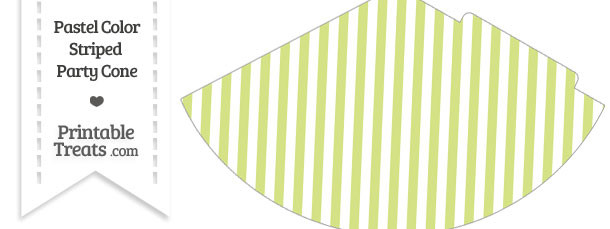 Pastel Yellow Green Striped Party Cone