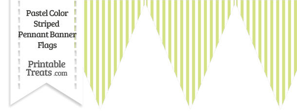 Pastel Yellow Green Striped Pennant Banner Flag