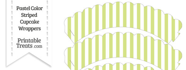 Pastel Yellow Green Striped Scalloped Cupcake Wrappers
