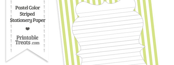 Pastel Yellow Green Striped Stationery Paper