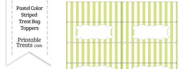 Pastel Yellow Green Striped Treat Bag Toppers