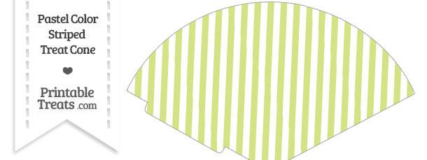 Pastel Yellow Green Striped Treat Cone