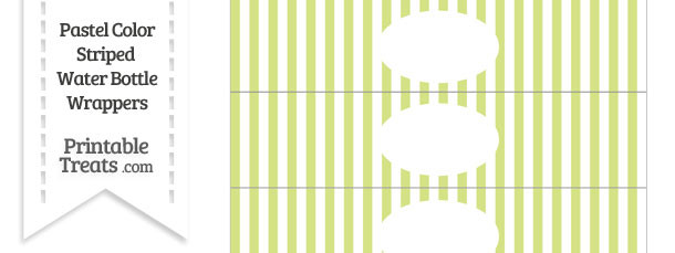 Pastel Yellow Green Striped Water Bottle Wrappers