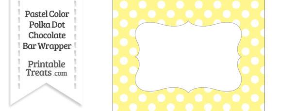 Pastel Yellow Polka Dot Chocolate Bar Wrappers