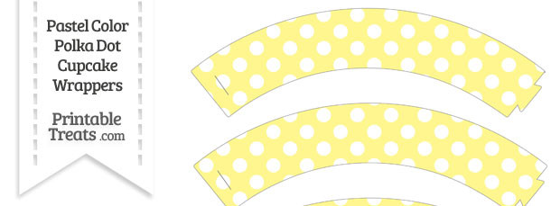 Pastel Yellow Polka Dot Cupcake Wrappers