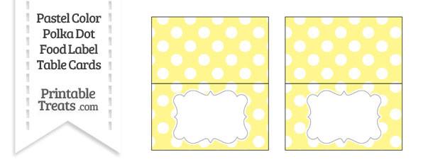 Pastel Yellow Polka Dot Food Labels