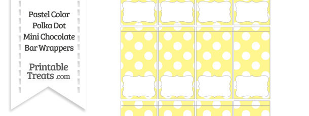 Pastel Yellow Polka Dot Mini Chocolate Bar Wrappers