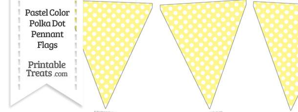 Pastel Yellow Polka Dot Pennant Banner Flag