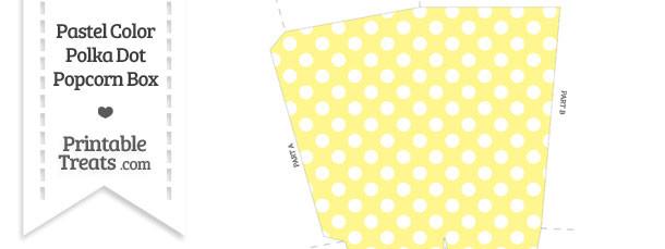 Pastel Yellow Polka Dot Popcorn Box