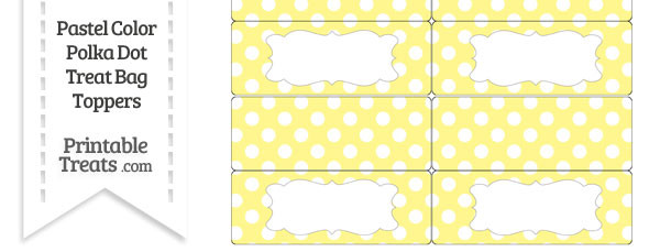 Pastel Yellow Polka Dot Treat Bag Toppers
