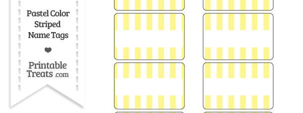 Pastel Yellow Striped Name Tags