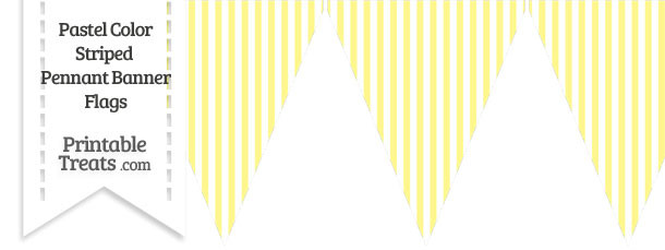 Pastel Yellow Striped Pennant Banner Flag