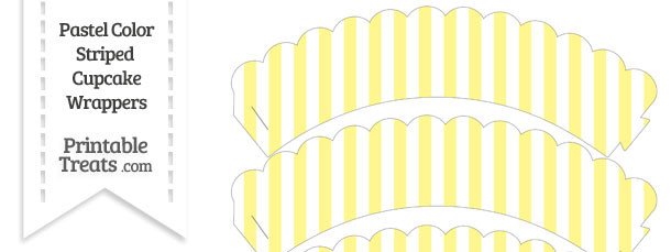 Pastel Yellow Striped Scalloped Cupcake Wrappers