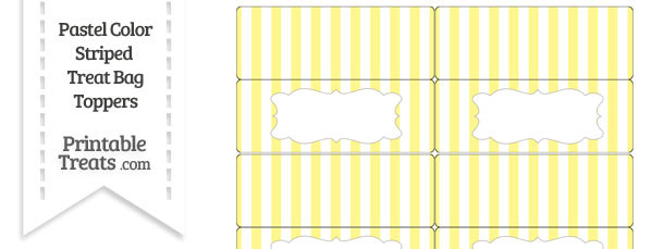 Pastel Yellow Striped Treat Bag Toppers