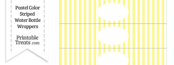 Pastel Yellow Striped Water Bottle Wrappers