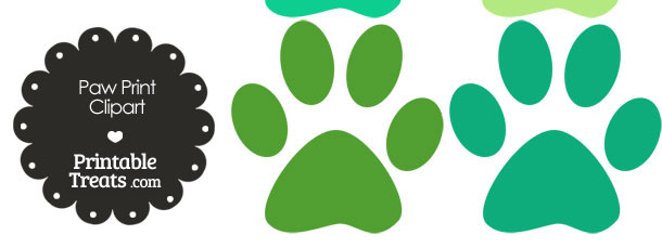 Paw Print Clipart in Shades of Green from PrintableTreats.com