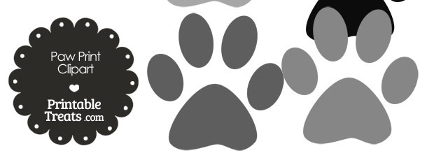 Paw Print Clipart in Shades of Grey from PrintableTreats.com