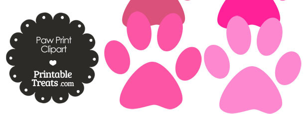 Paw Print Clipart in Shades of Pink from PrintableTreats.com
