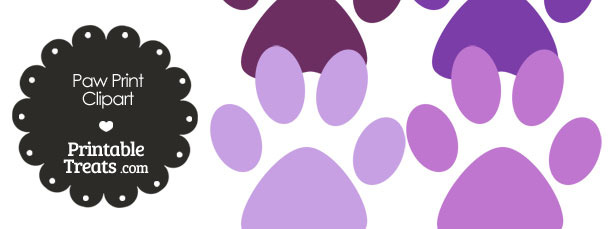 Paw Print Clipart in Shades of Purple from PrintableTreats.com