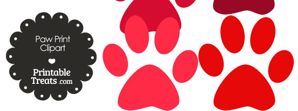 Paw Print Clipart in Shades of Red from PrintableTreats.com