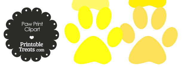 Paw Print Clipart in Shades of Yellow from PrintableTreats.com