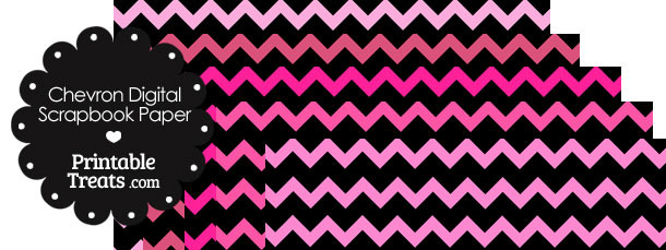 Pink and Black Chevron Digital Scrapbook Paper
