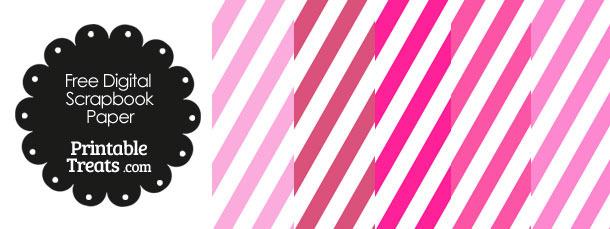 Pink and White Diagonal Striped Digital Scrapbook Paper