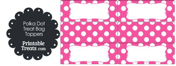 Pink and White Polka Dot Treat Bag Toppers