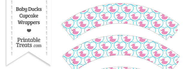 Pink Baby Ducks Cupcake Wrappers