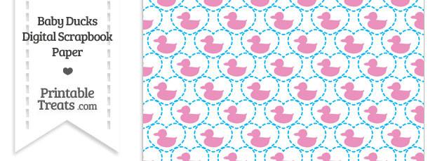 Pink Baby Ducks Digital Scrapbook Paper