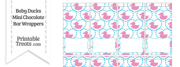 Pink Baby Ducks Mini Chocolate Bar Wrappers