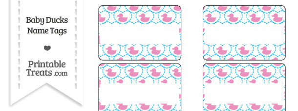 Pink Baby Ducks Name Tags