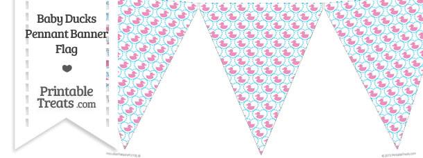Pink Baby Ducks Pennant Banner Flag