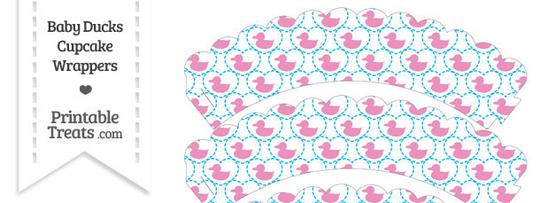 Pink Baby Ducks Scalloped Cupcake Wrappers
