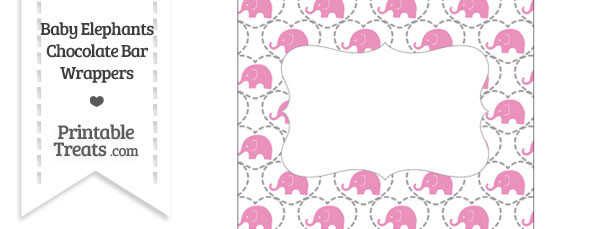 Pink Baby Elephants Chocolate Bar Wrappers