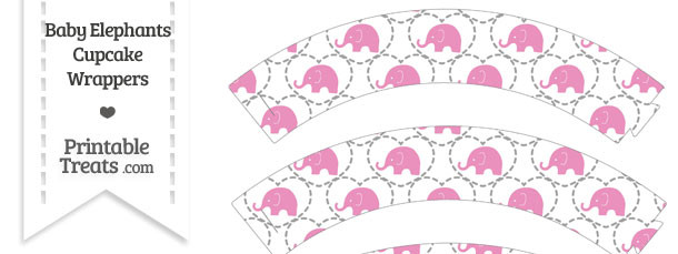 Pink Baby Elephants Cupcake Wrappers