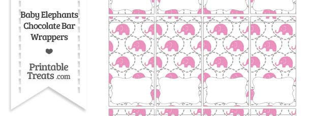 Pink Baby Elephants Mini Chocolate Bar Wrappers