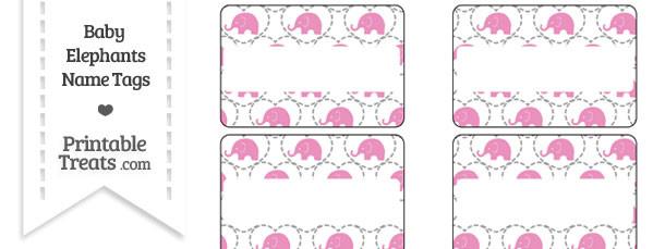 Pink Baby Elephants Name Tags