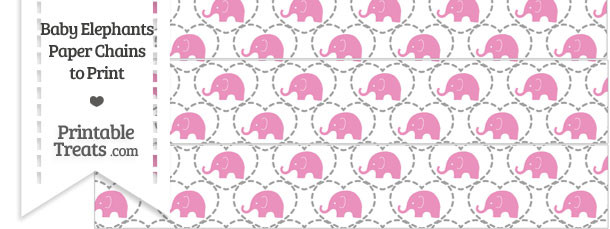 Pink Baby Elephants Paper Chains