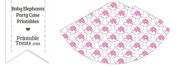 Pink Baby Elephants Party Cone