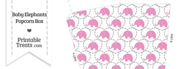 Pink Baby Elephants Popcorn Box